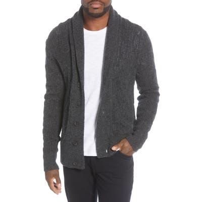 John Varvatos Star Usa Houston Brushed Boucle Cardigan Sweater, Grey