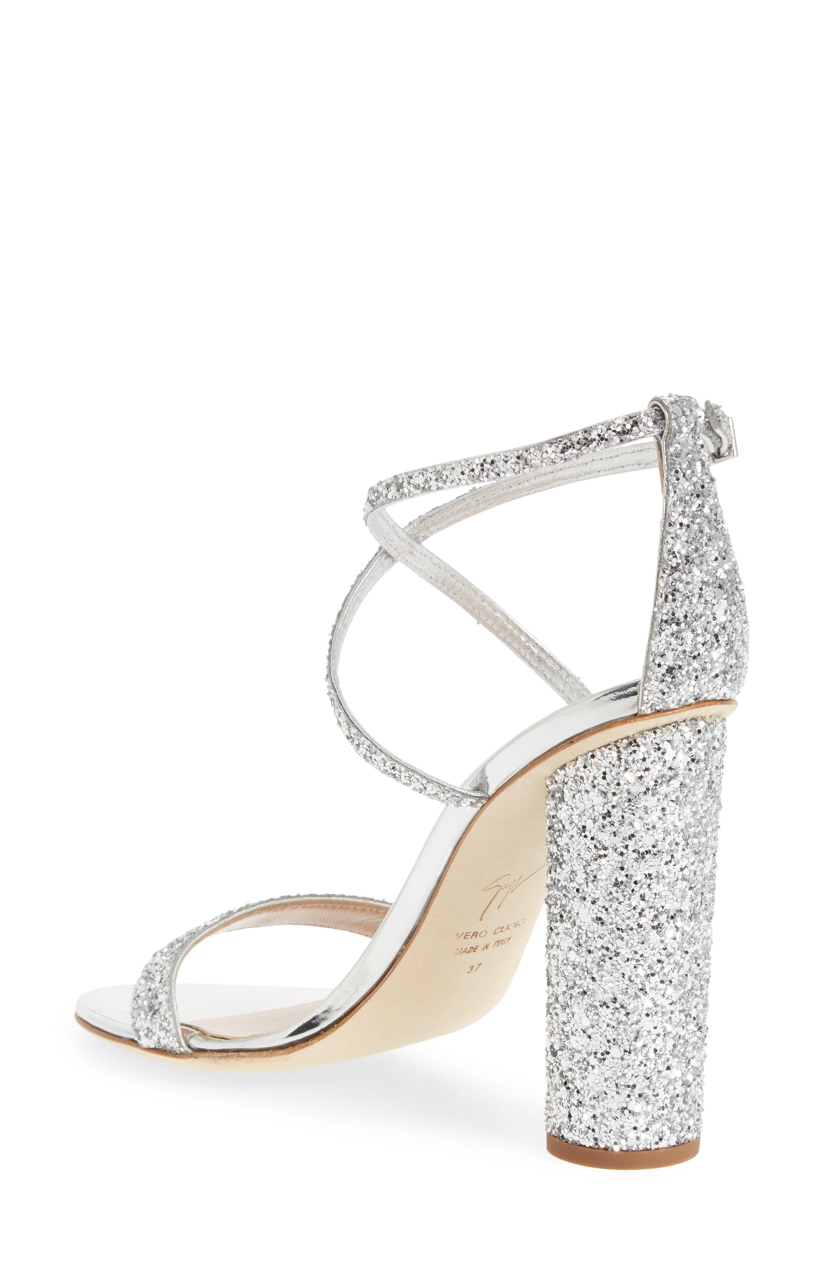 ,                             Glitter Heel Sandal,                             Alternate thumbnail 2, color,                             SILVER