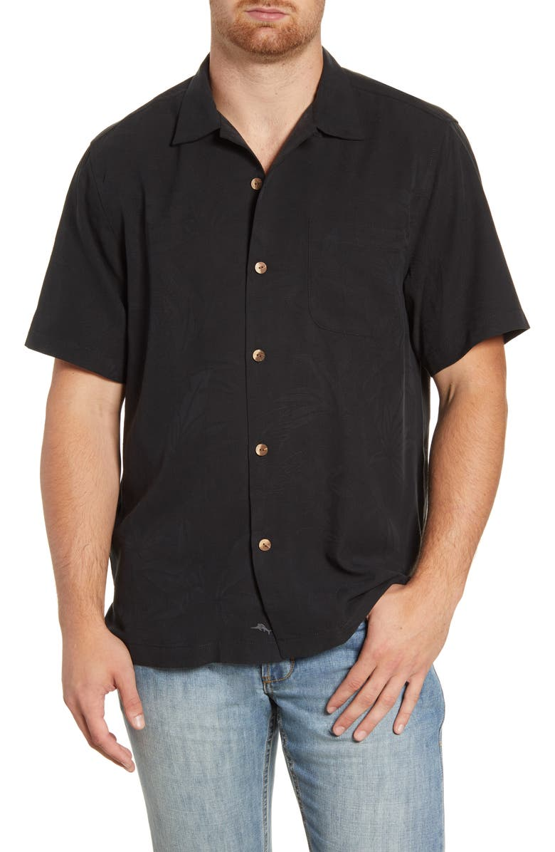 TOMMY BAHAMA Al Fresco Tropics Classic Fit Short Sleeve Silk Button-Up Shirt, Main, color, BLACK