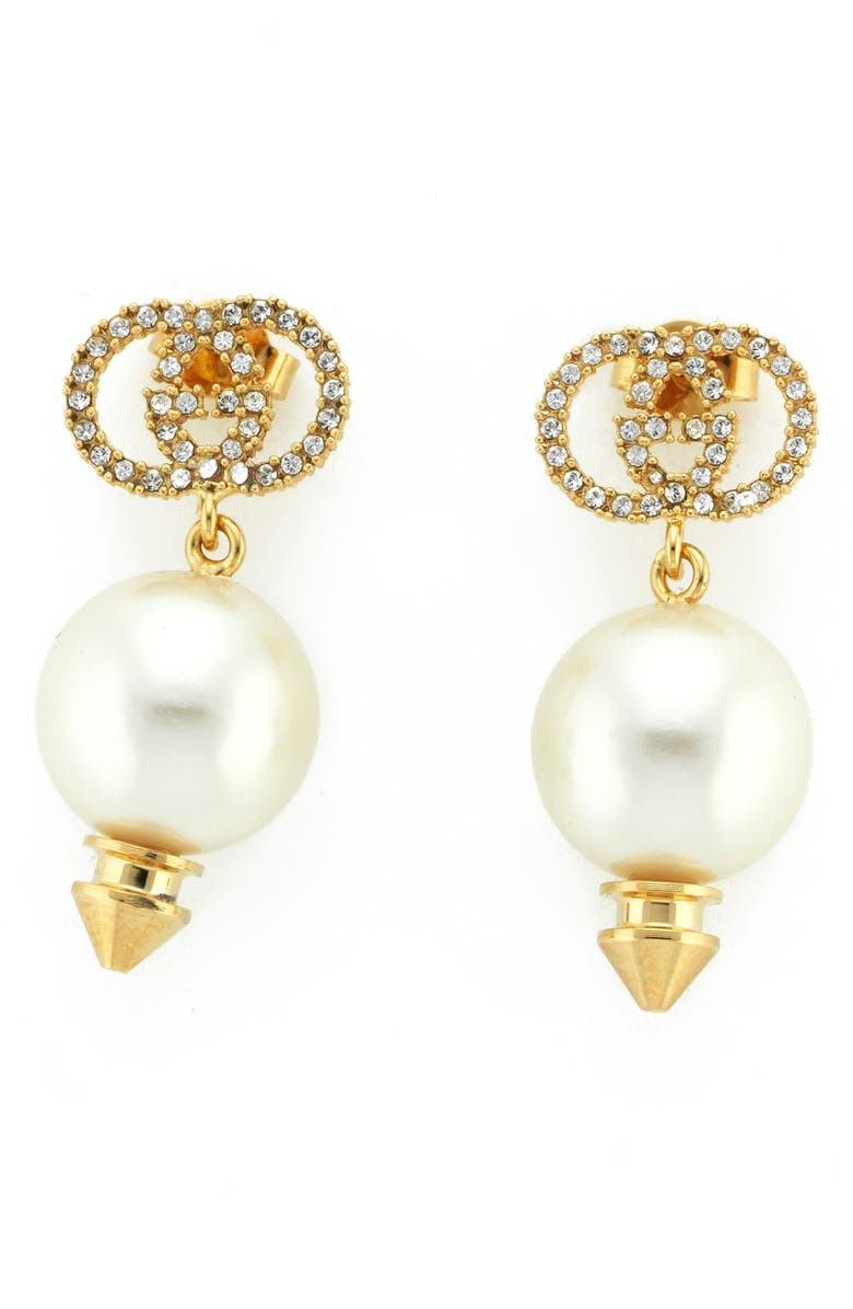 GUCCI Imitation Pearl Drop Earrings, Main, color, PEARL