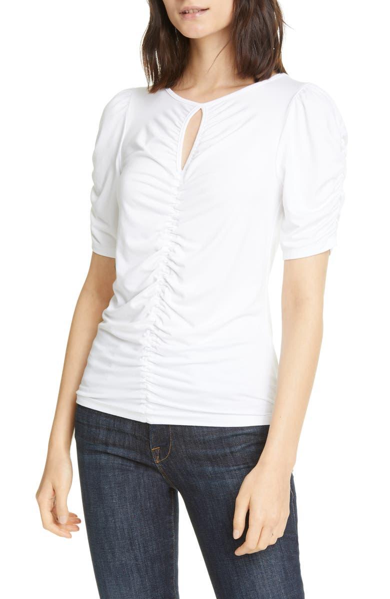 FRAME Shirred Keyhole Neck T-Shirt, Main, color, 120