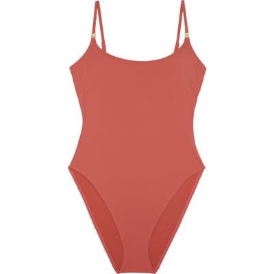 Tory Burch High Leg One-Piece Swimsuit, Orange