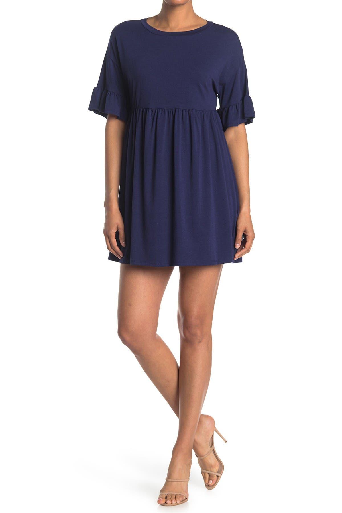 Image of KENEDIK Ruffle Sleeve Babydoll T-Shirt Dress