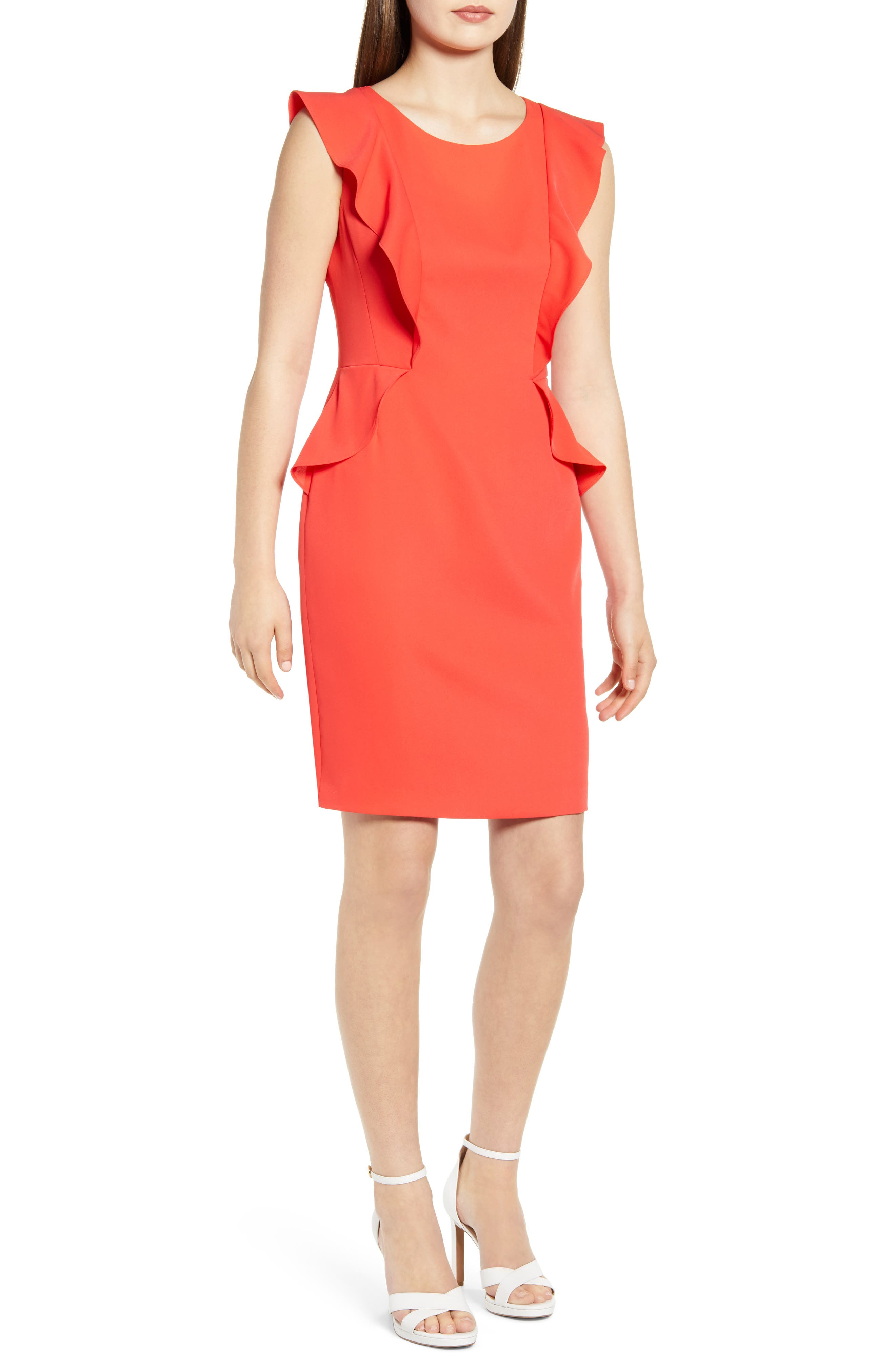 Anne Klein Flutter Sleeve Soft Crepe Sheath Dress, Red