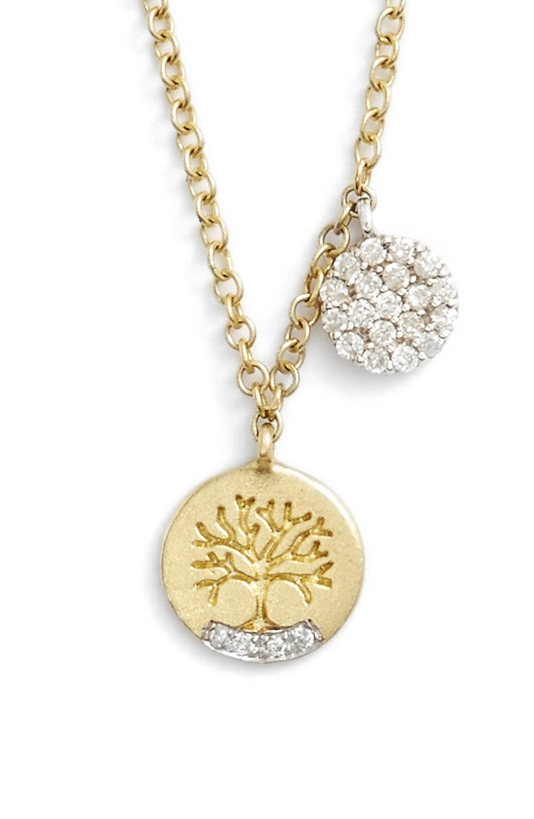 MEIRA T Tree of Life Diamond Pendant Necklace, Main, color, YELLOW GOLD/ WHITE GOLD
