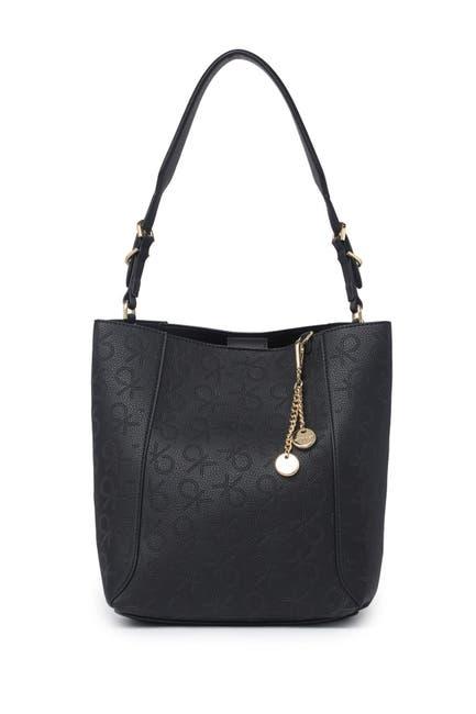 Image of Calvin Klein Denver Perforated Montego Logo Hobo Shoulder Bag