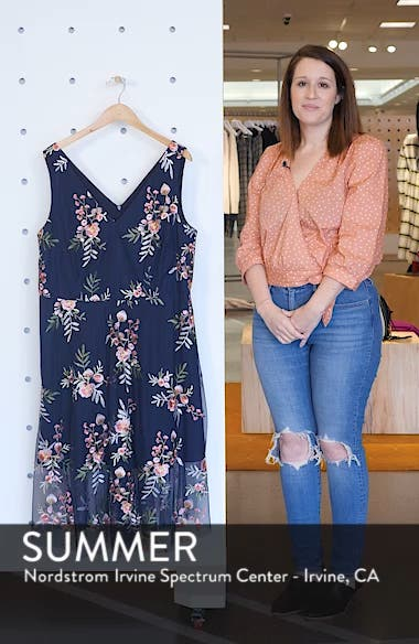 Floral Embroidered Mesh Midi Dress, sales video thumbnail