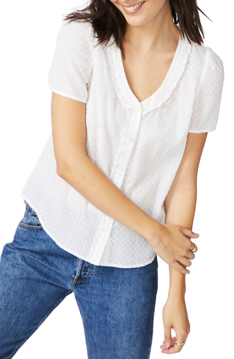 COURT & ROWE Clip Dot Cotton Blouse, Main, color, 145