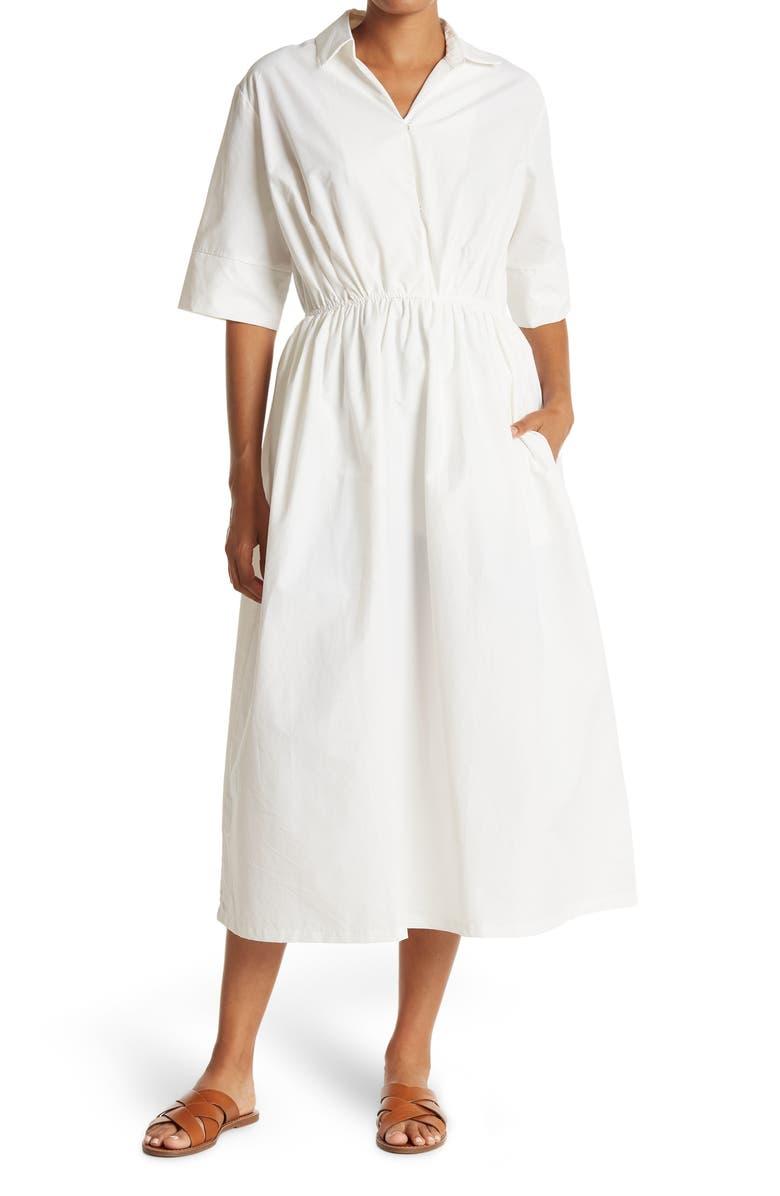 MELLODAY Short Sleeve V-Neck Elastic Waist Midi Dress, Main, color, WHITE