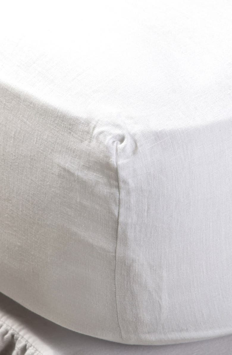 POM POM AT HOME Linen Fitted Sheet, Main, color, CREAM