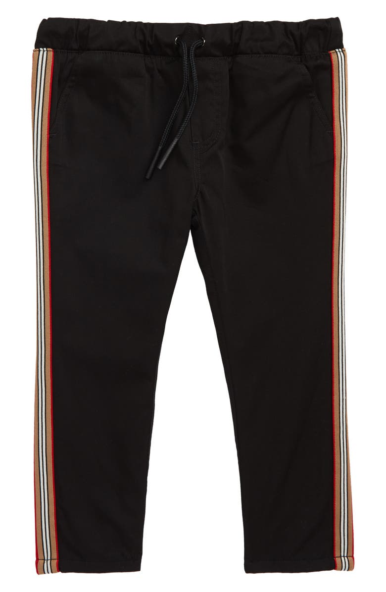BURBERRY Curran Icon Woven Pants, Main, color, BLACK