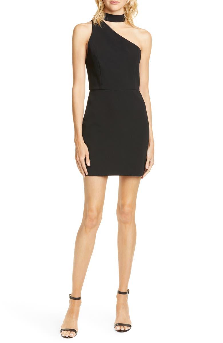 ALICE + OLIVIA Skyla One-Shoulder Cocktail Dress, Main, color, BLACK