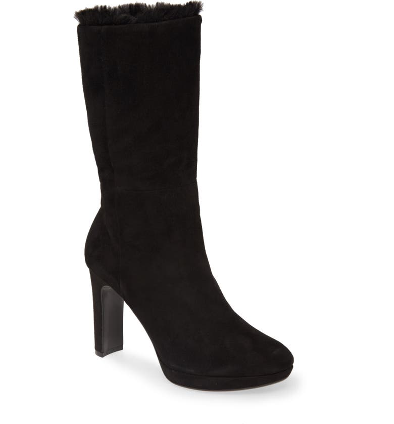 CALVIN KLEIN Pebbles Faux Shearling Lined Boot, Main, color, BLACK SUEDE