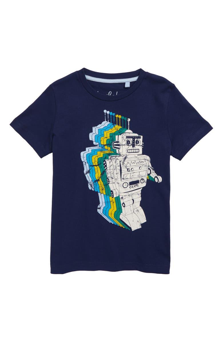 MINI BODEN Gradient Robot Graphic T-Shirt, Main, color, COLLEGE BLUE