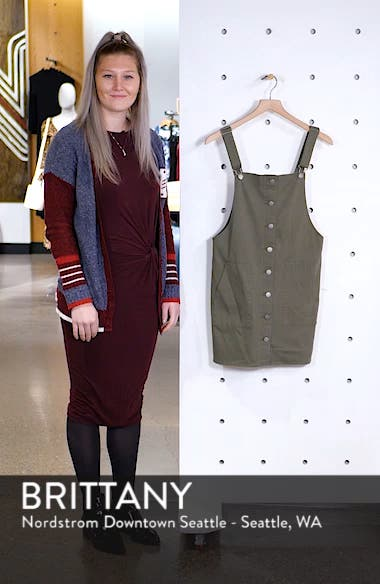 Button Front Twill Pinafore Dress, sales video thumbnail