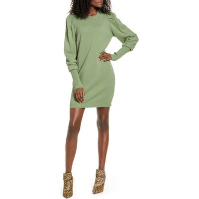 Wayf X Influencers San Francisco Puff Sleeve Sweater Dress, Green (Nordstrom Exclusive)
