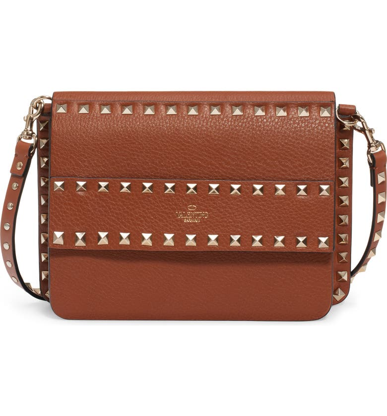 VALENTINO GARAVANI Small Rockstud Calfskin Leather Shoulder Bag, Main, color, SELLERIA