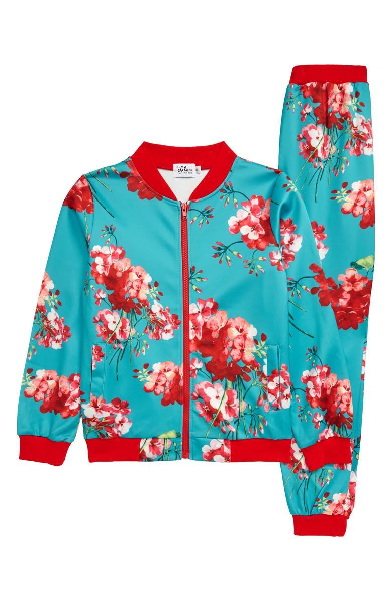 LOLA & THE BOYS Jasmine Flower Track Suit, Main, color, BLUE