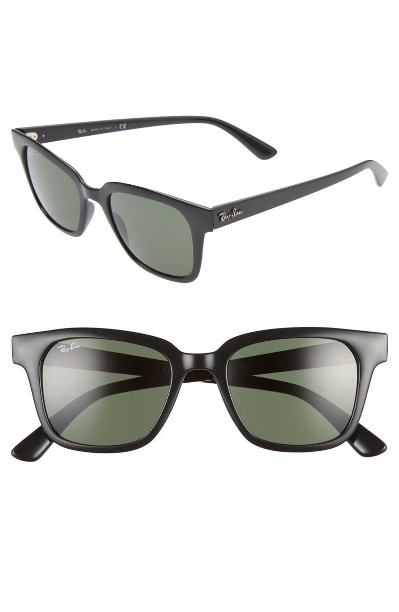 RAY-BAN 51mm Wayfarer Sunglasses, Main, color, BLACK/ GREEN
