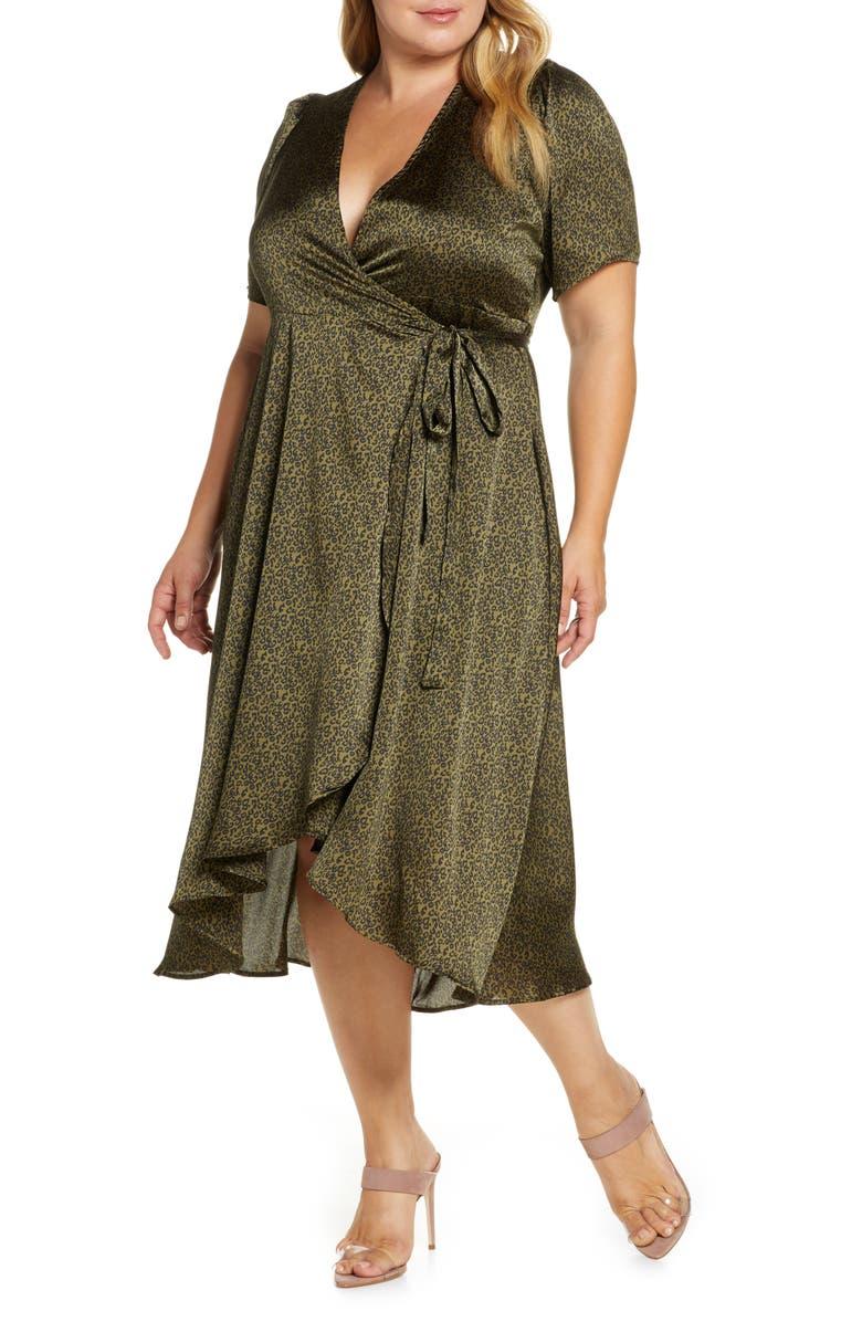 BOBEAU Lumi Puff Sleeve Wrap Dress, Main, color, DITSY LEOPARD OLIVE