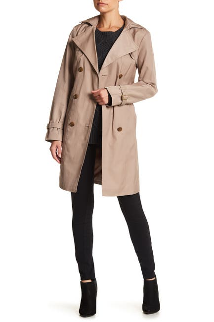 Image of Cole Haan Belted Hooded Trench Coat