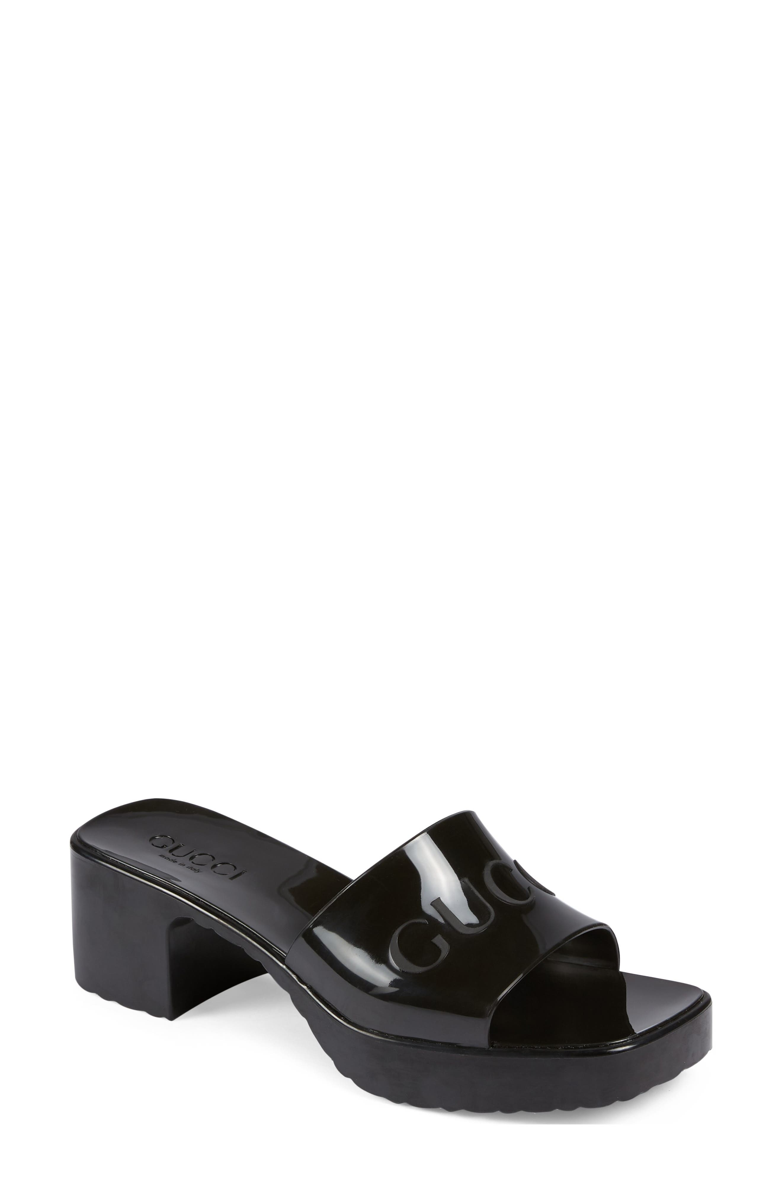 Gucci Rubber Logo Platform Slide Sandal