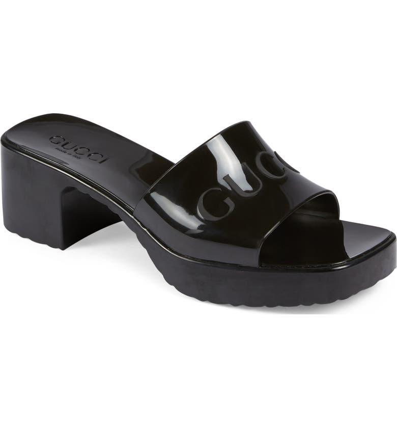 GUCCI Rubber Logo Platform Slide Sandal, Main, color, BLACK
