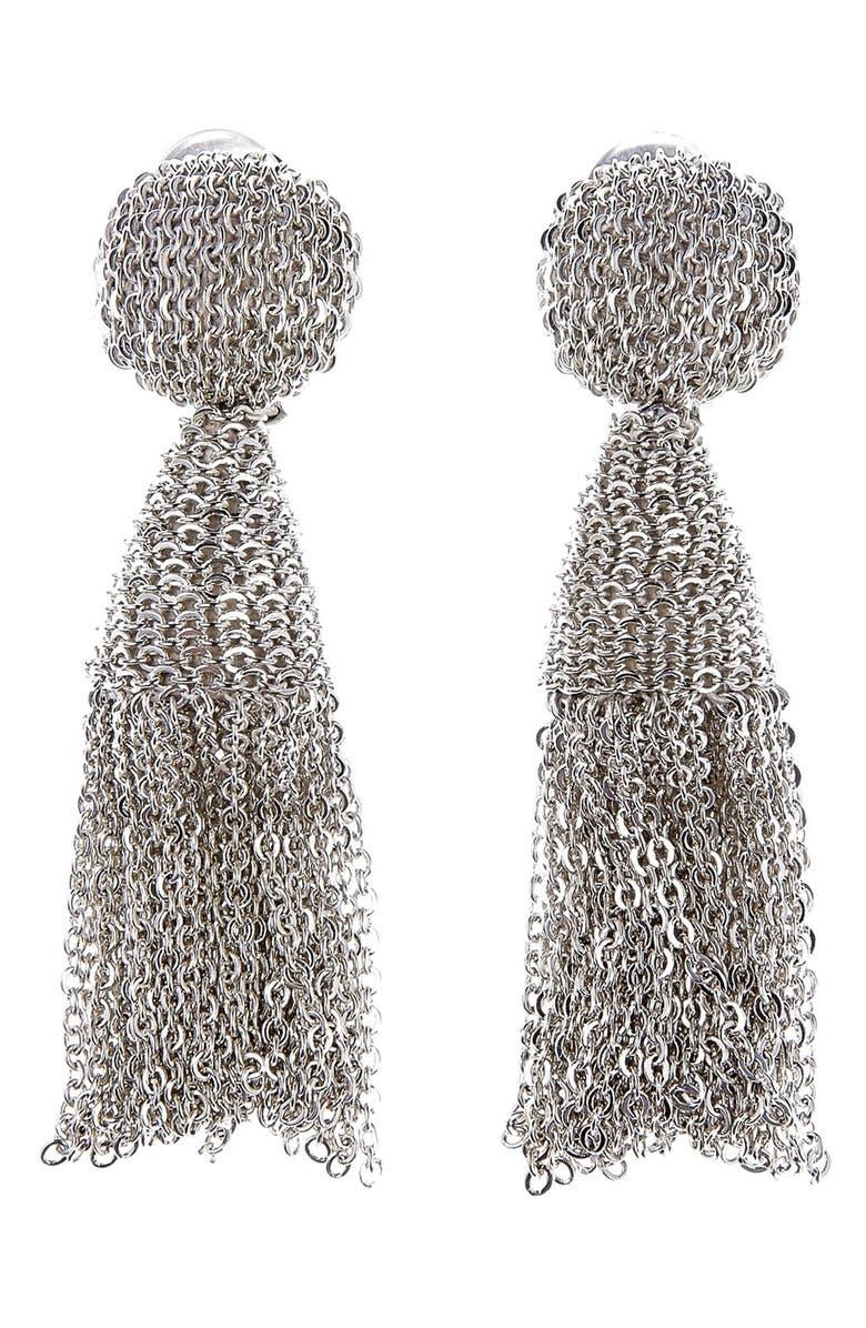 OSCAR DE LA RENTA 'Classic Short' Tassel Chain Drop Earrings, Main, color, 040