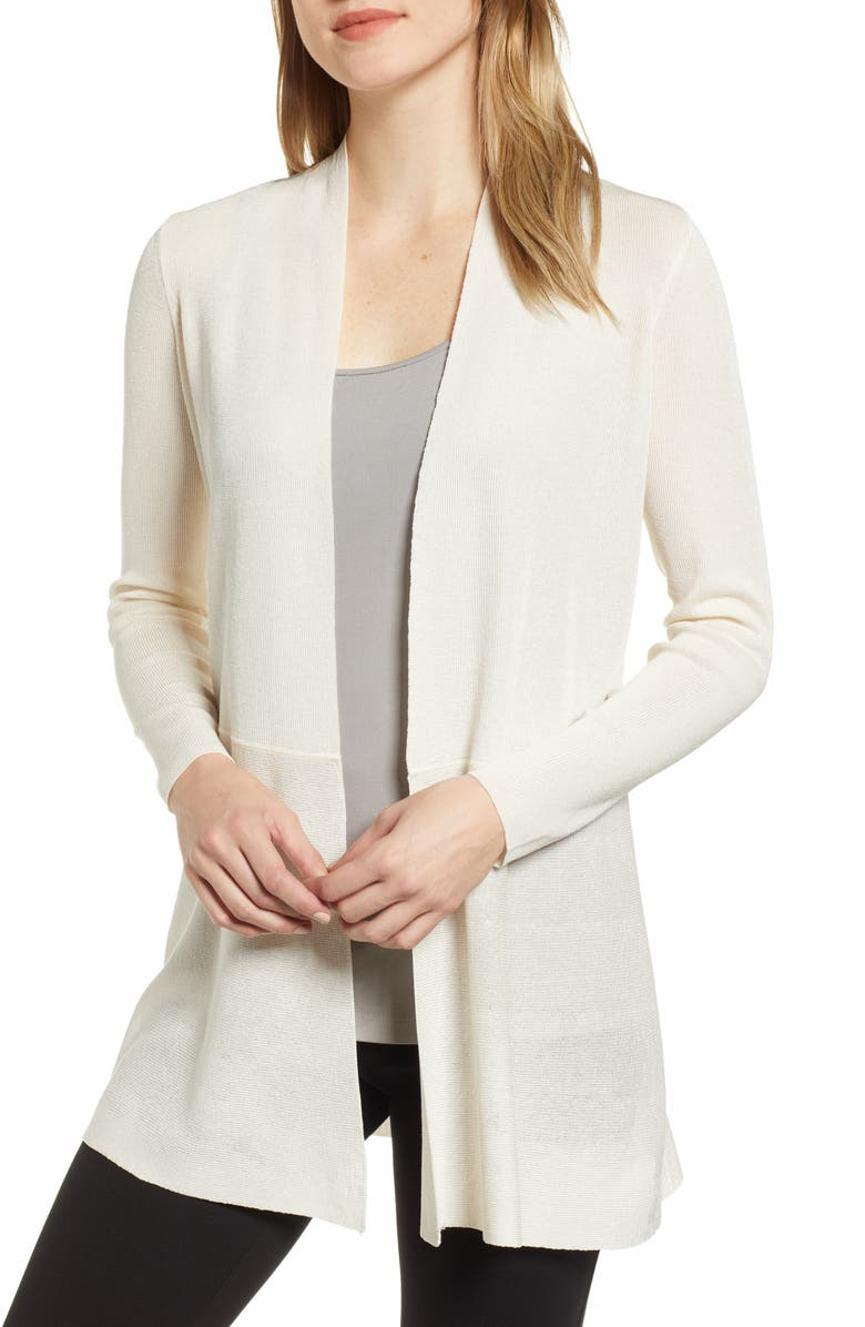 ANNE KLEIN Peplum Long Cardigan, Main, color, ANNE WHITE