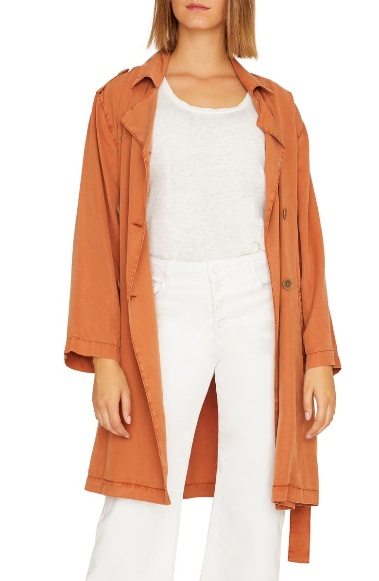 SANCTUARY Wind Swept Soft Trench Coat, Main, color, SIERRA