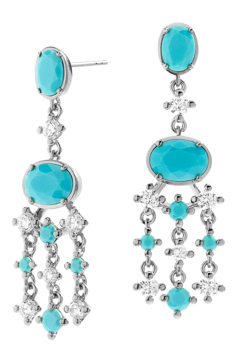 NADRI Chandelier Earrings, Main, color, RHODIUM/ CUBIC ZIRCONIA