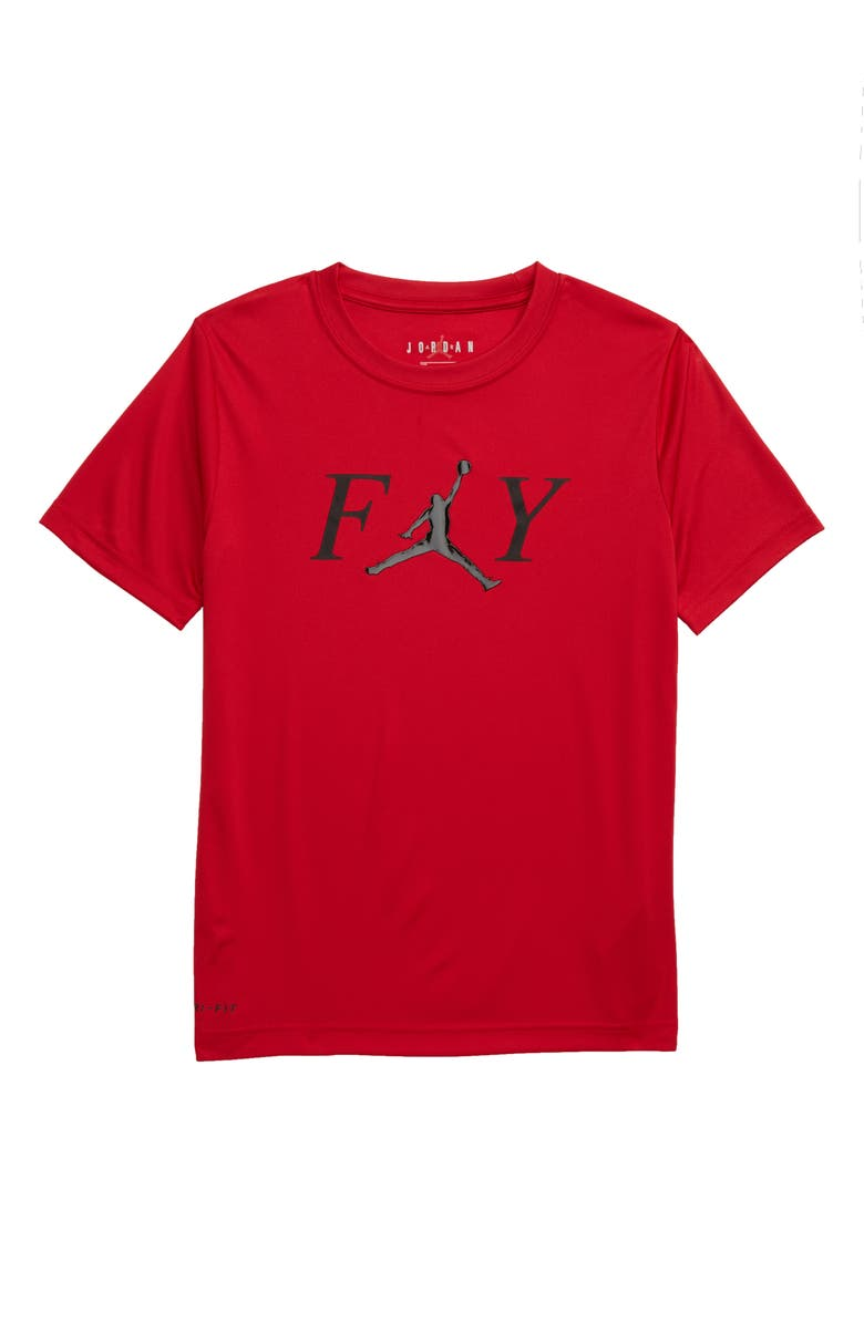 JORDAN Fly Graphic Dri-FIT T-Shirt, Main, color, GYM RED