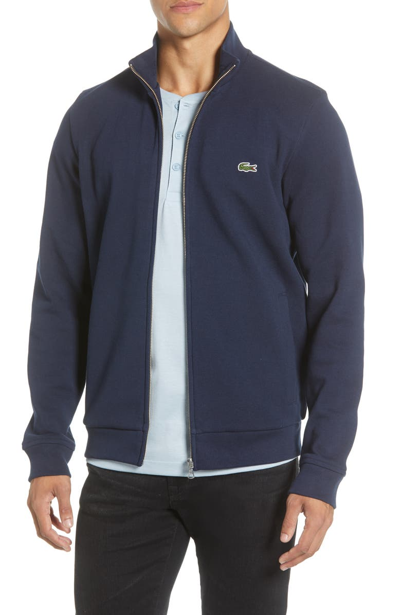 LACOSTE Piqué Cotton Blend Jacket, Main, color, 410