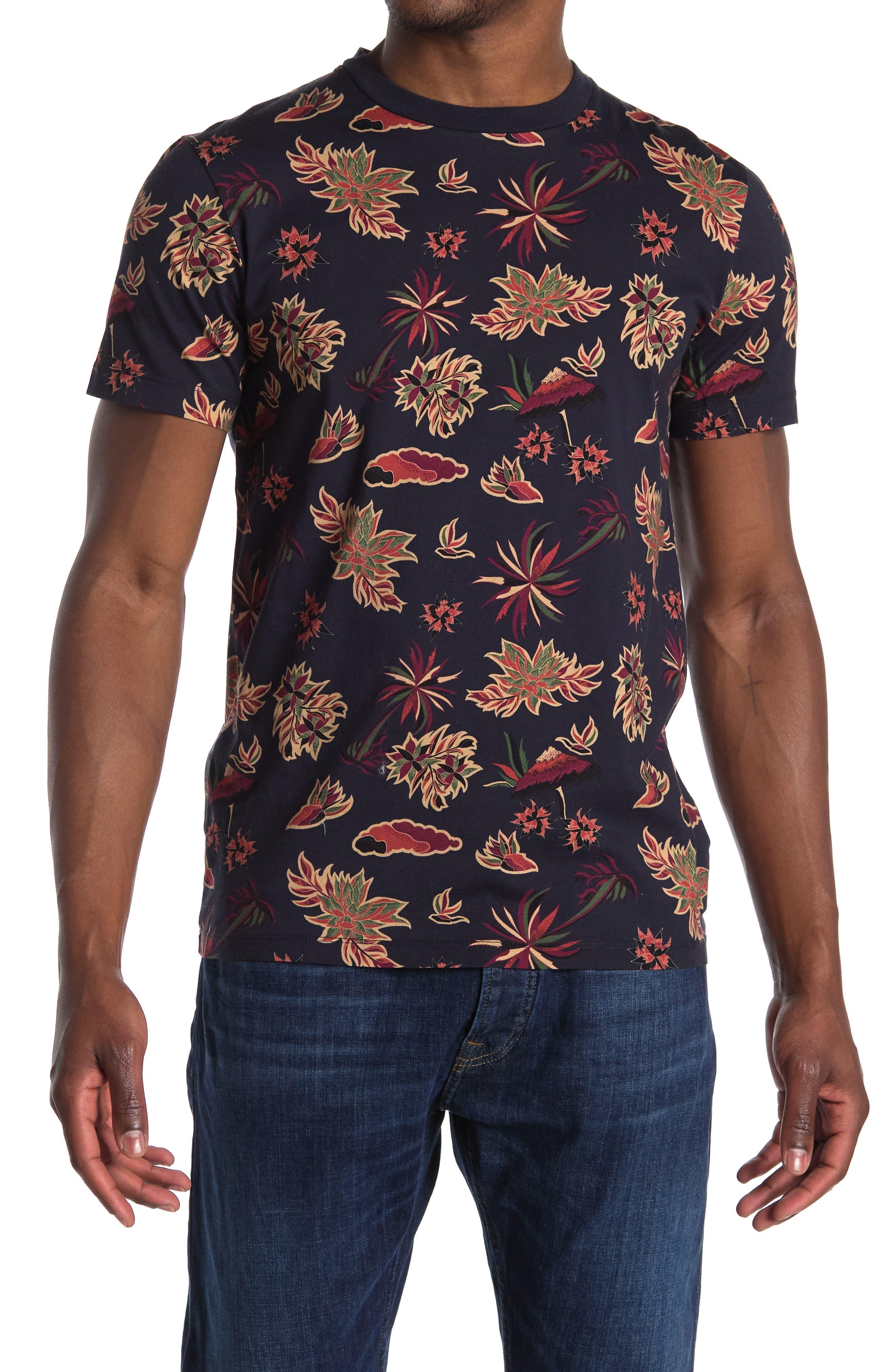Image of Scotch & Soda Tropical Print Crew Neck T-Shirt
