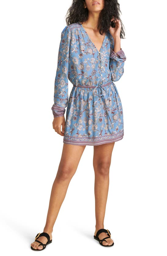 Veronica Beard TIANY FLORAL BORDER PRINT LONG SLEEVE DRESS