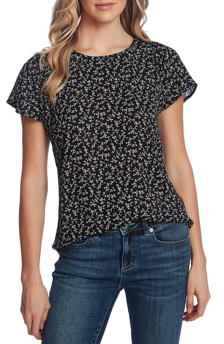 CECE Budding Floral Short Sleeve Top, Main, color, RICH BLACK
