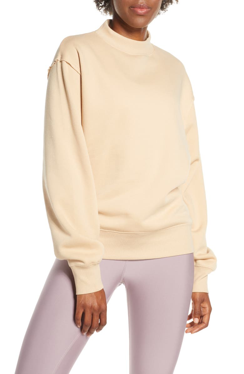 ALO Freestyle Mock Neck Sweatshirt, Main, color, PUTTY
