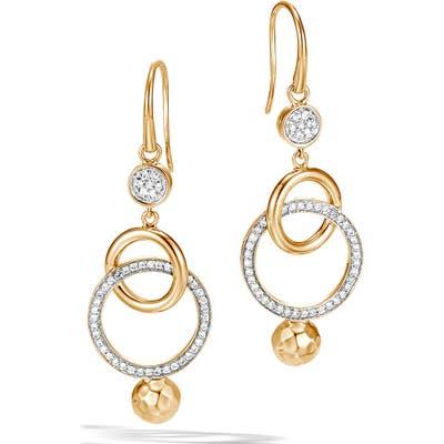 John Hardy Dot Hammered Diamond Drop Earrings