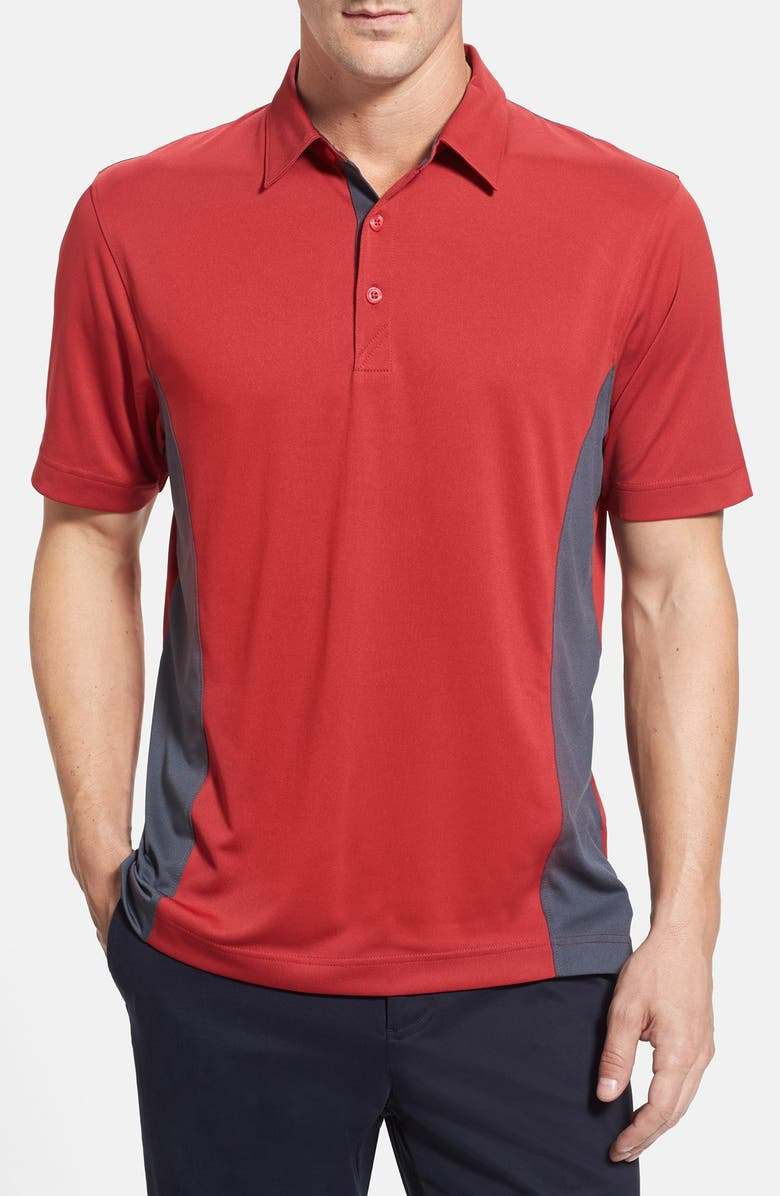 CUTTER & BUCK 'Willows' Colorblock DryTec Polo, Main, color, CARDINAL RED/ ONYX