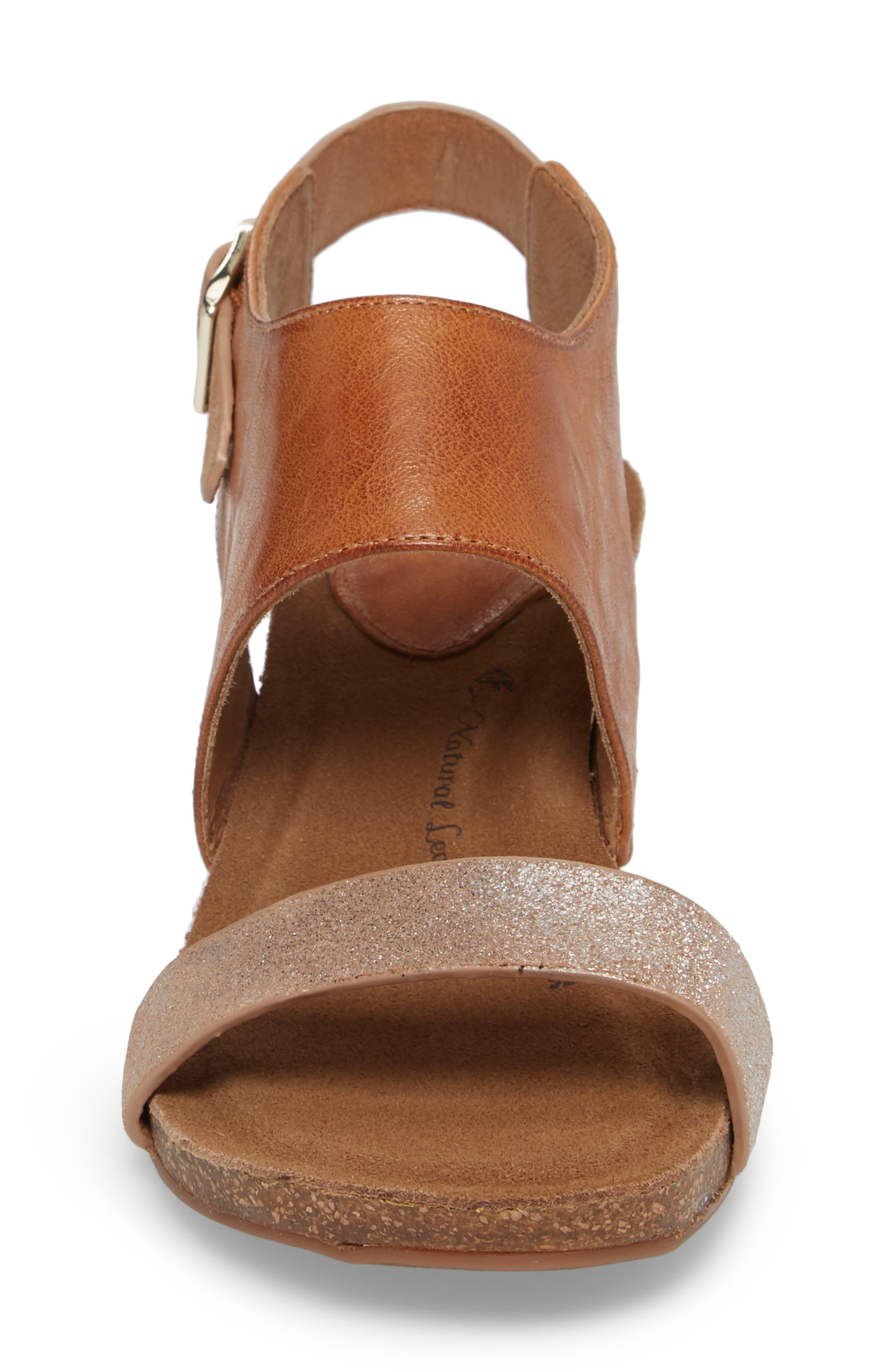 ,                             'Vanita' Leather Sandal,                             Alternate thumbnail 4, color,                             LUGGAGE/ SILVER LEATHER