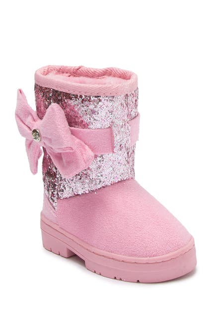 Image of bebe Glitter Bow Faux Fur Lined Winter Boot
