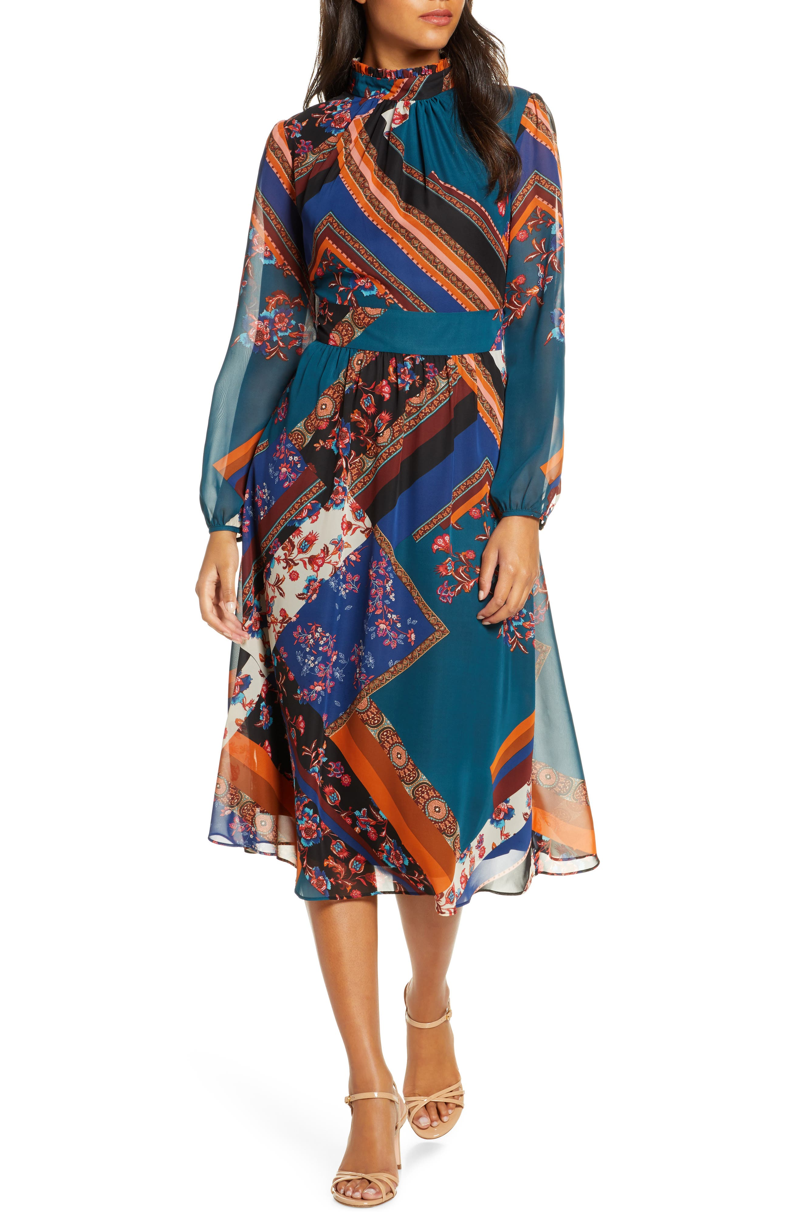 60s Dresses | 1960s Dresses Mod, Mini, Hippie Womens Julia Jordan Mock Neck Long Sleeve Fit  Flare Dress $118.00 AT vintagedancer.com