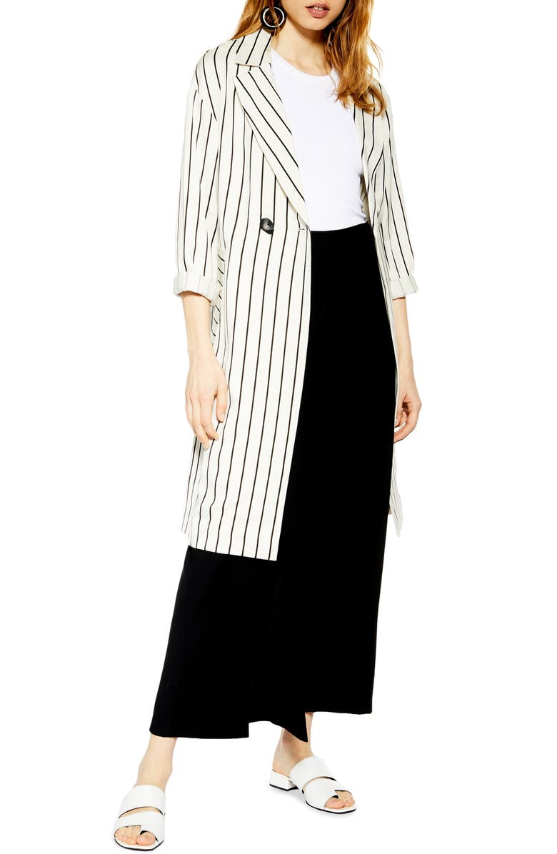 TOPSHOP Stripe Duster Jacket, Main, color, WHITE MULTI