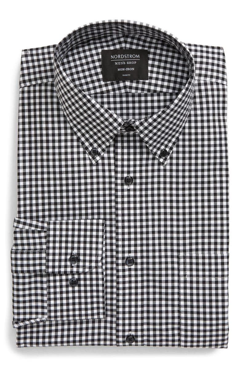 NORDSTROM MEN'S SHOP Trim Fit Non-Iron Gingham Dress Shirt, Main, color, BLACK