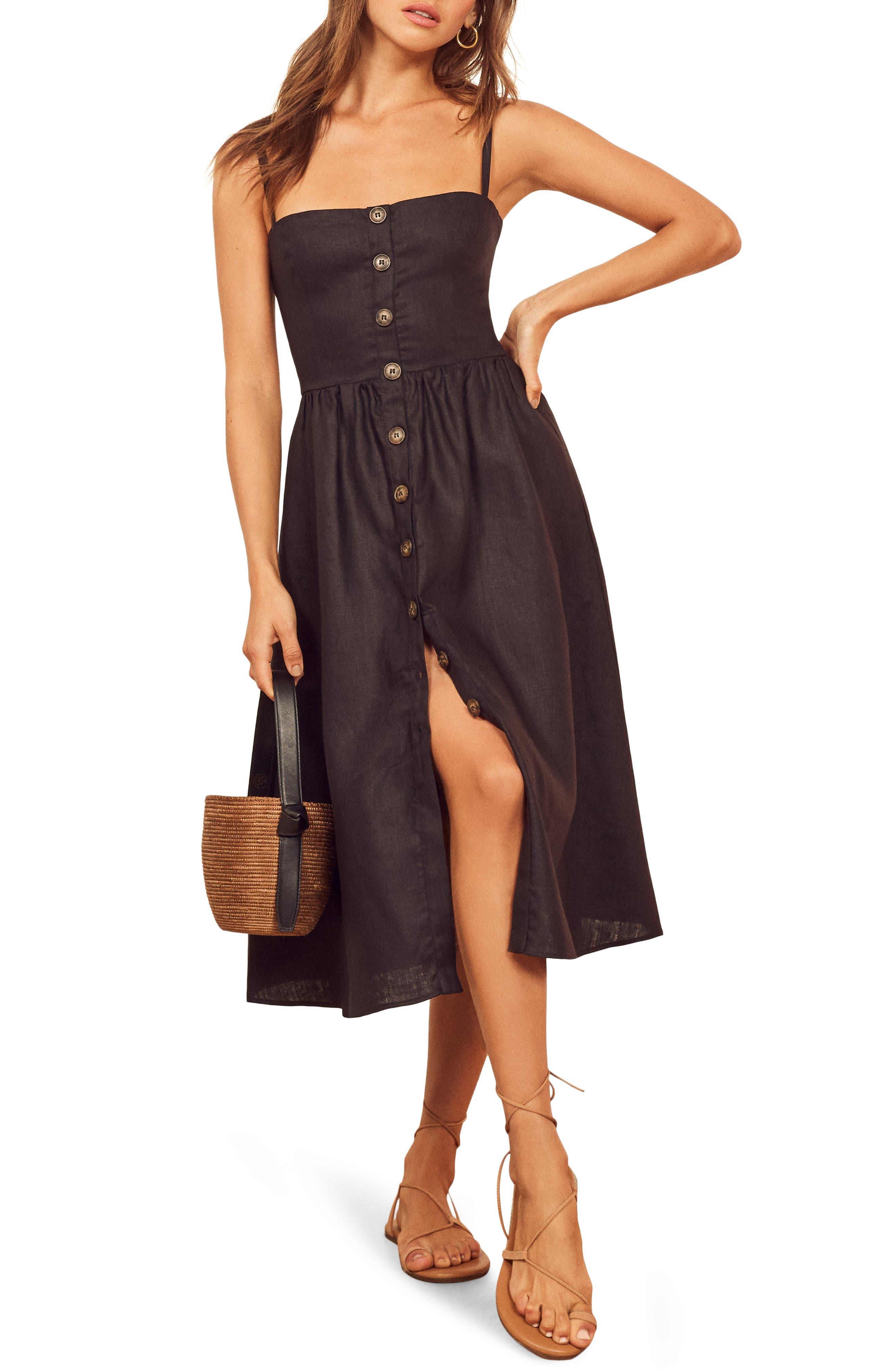 Reformation Tori Linen Sundress, Black