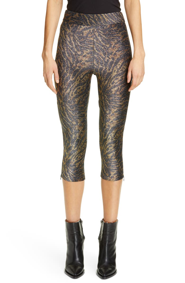 GANNI Tiger Print Metallic Jersey Crop Pants, Main, color, TIGER