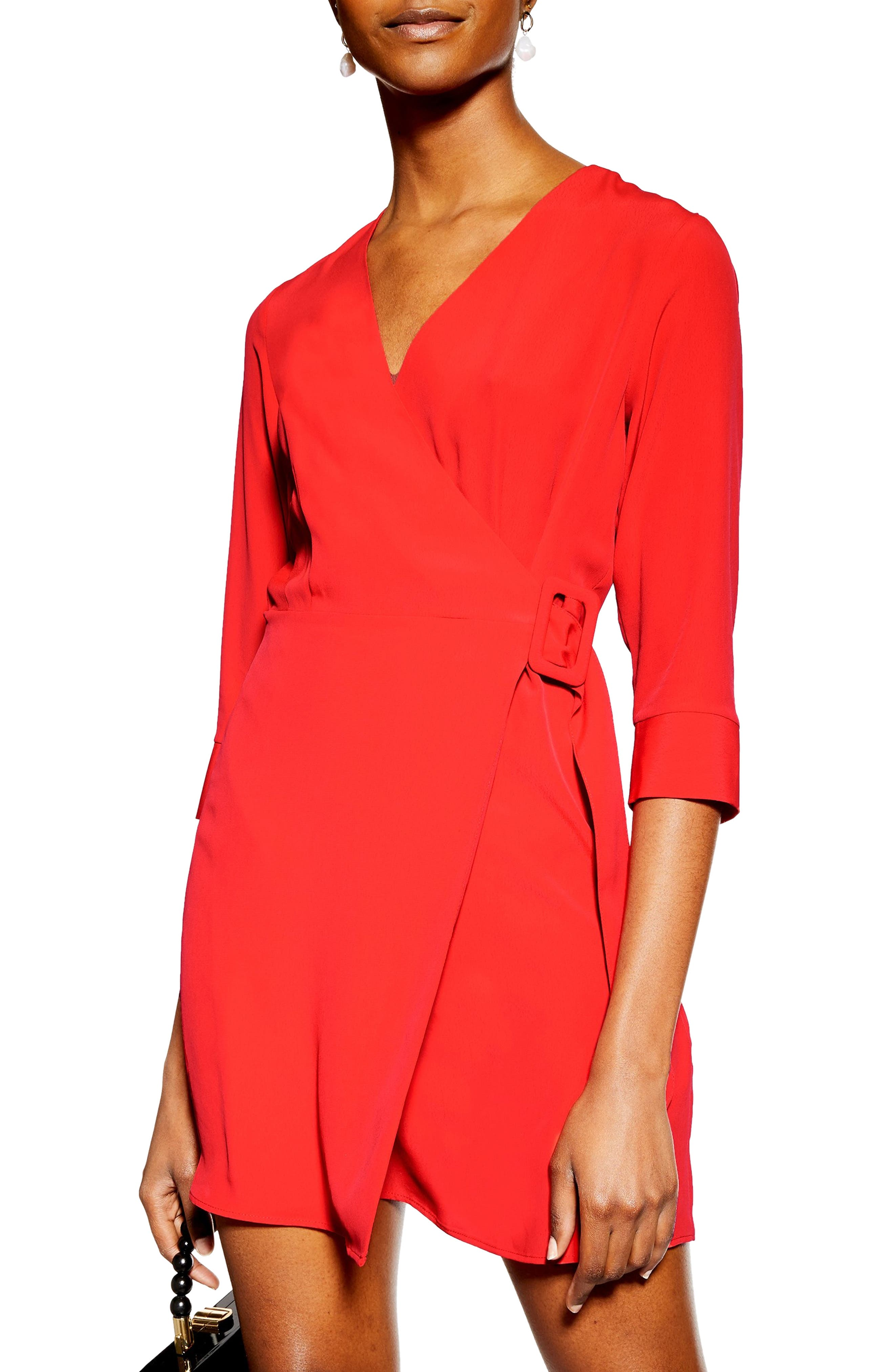 Topshop Wrap Minidress, US (fits like 0-2) - Red