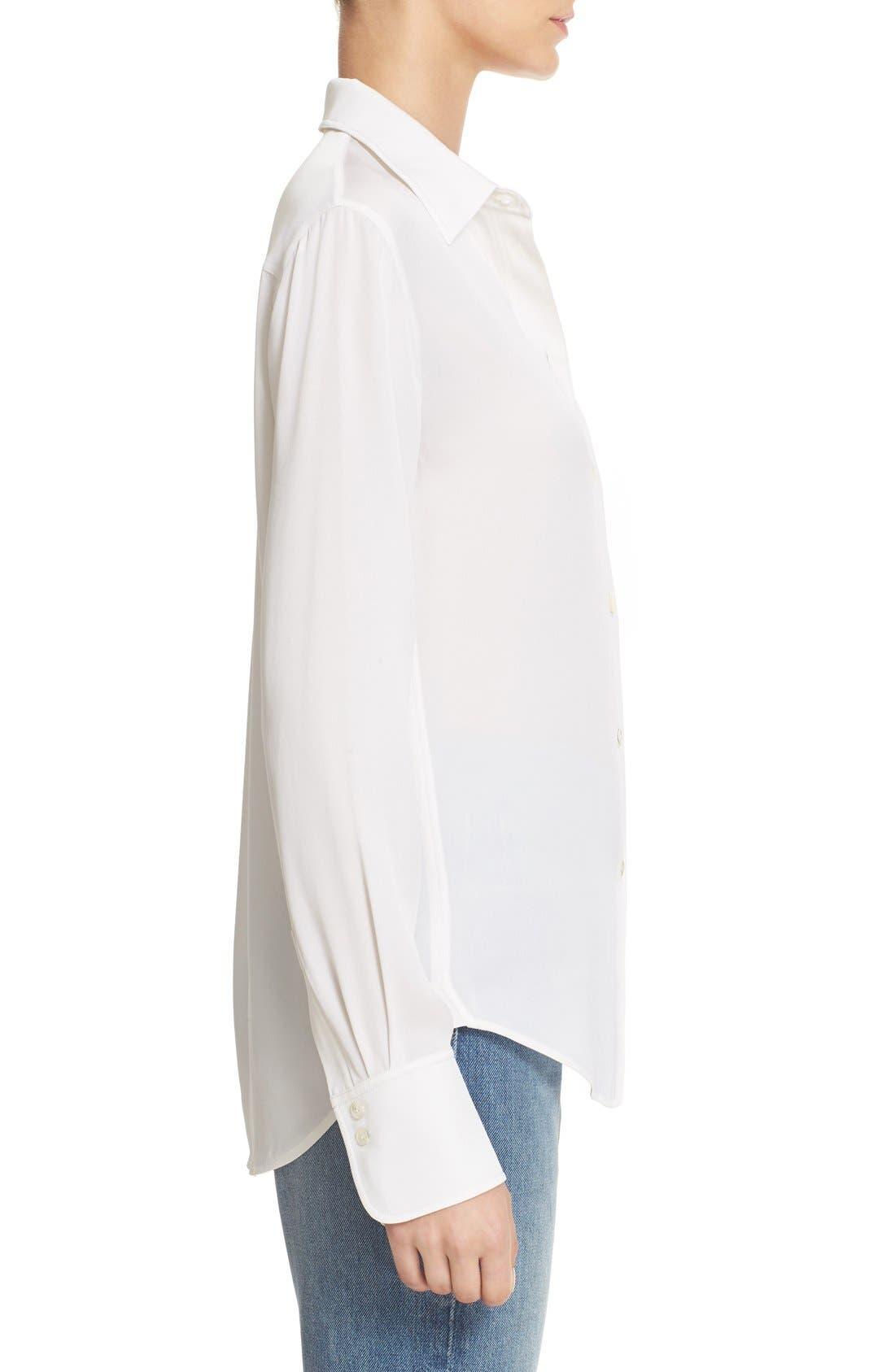 ,                             Slim Fit Stretch Silk Blouse,                             Alternate thumbnail 3, color,                             100