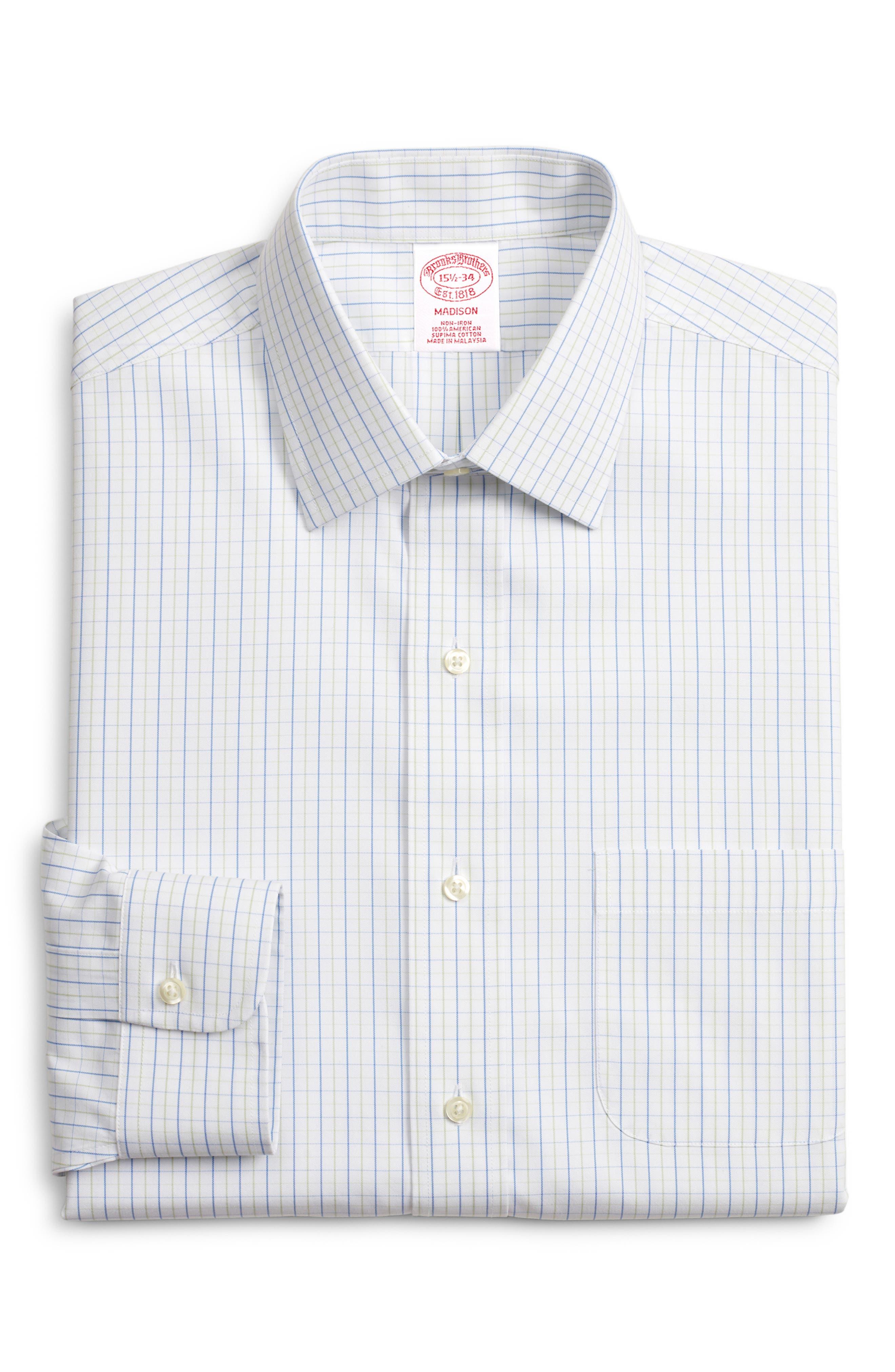 ,                             Madison Classic Fit Check Dress Shirt,                             Main thumbnail 1, color,                             GREEN