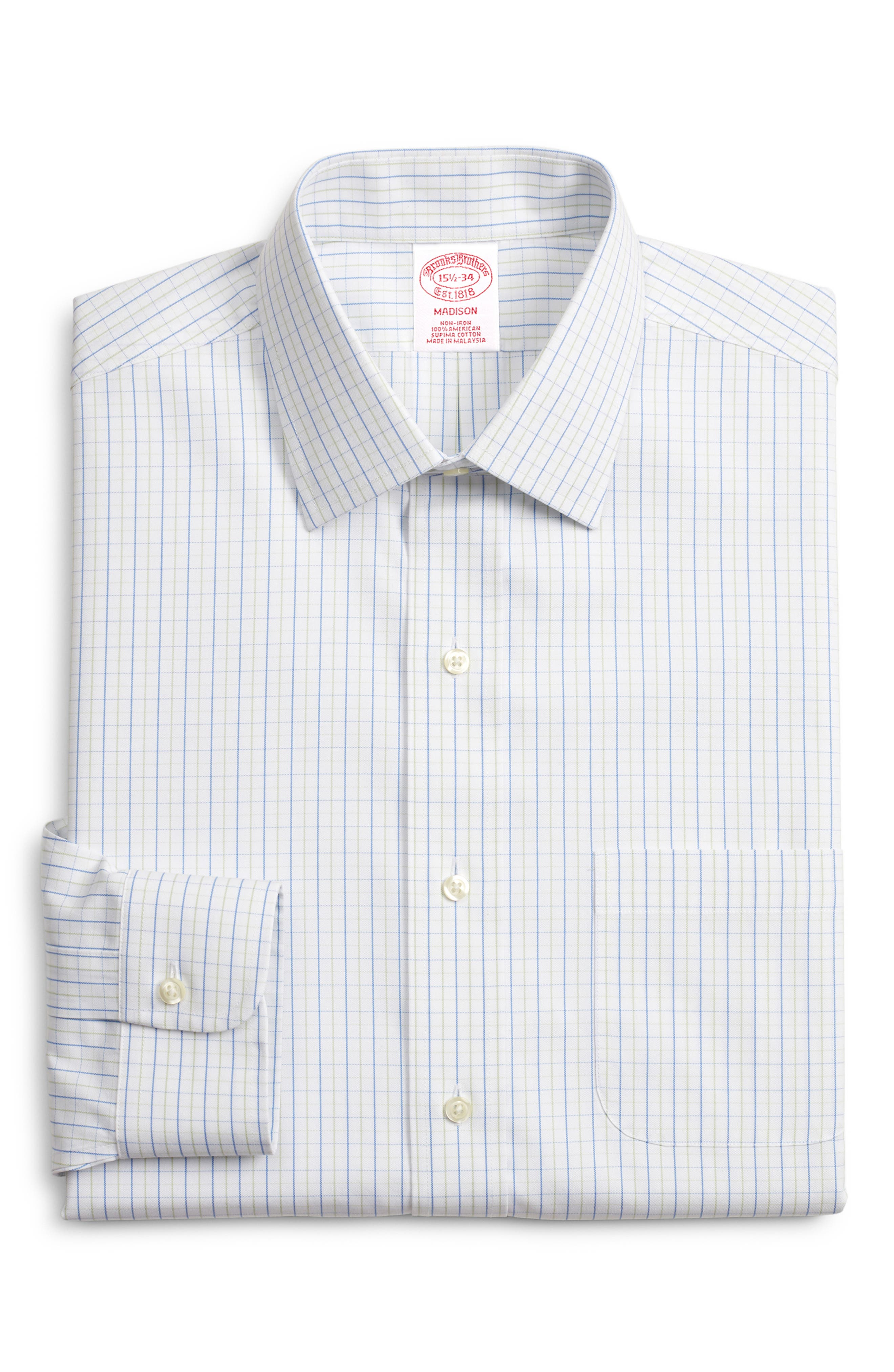 Madison Classic Fit Check Dress Shirt, Main, color, GREEN